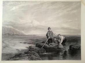 1850年钢版画《捕虾的少年》(THE PRAWN FISHERS)--出自威廉·柯林斯作品----《弗农画廊精选》,34*25厘米--精美,漂亮,高质量