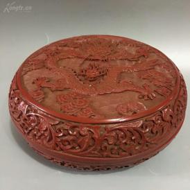 老漆器摆件 盘龙戏珠首饰盒 脱水椴木胚胎 大漆漆层 雕工细腻一眼货