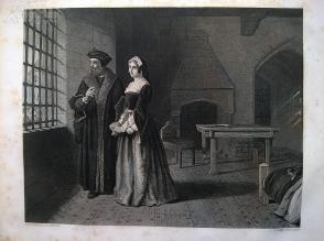 1854年钢版画《《托马斯爵士和他的女儿玛格丽特》(SIR THOMAS MORE)---雕刻师约翰·奥特莱姆,《弗农画廊精选》,34*25厘米--精美,漂亮,高质量