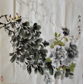 我家老师邹冰以画会友国画牡丹(雅香)真迹 四尺斗方规格0032