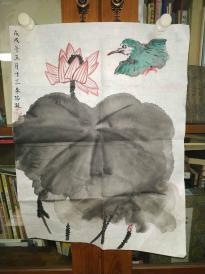 西安美院收的中国传统水墨画《翠鸟》,简介见详情。