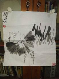 西安美院收的中国传统水墨画《墨荷》,简介见详情。