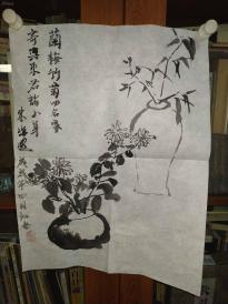 西安美院收的中国传统水墨画《瓶花》,简介见详情。