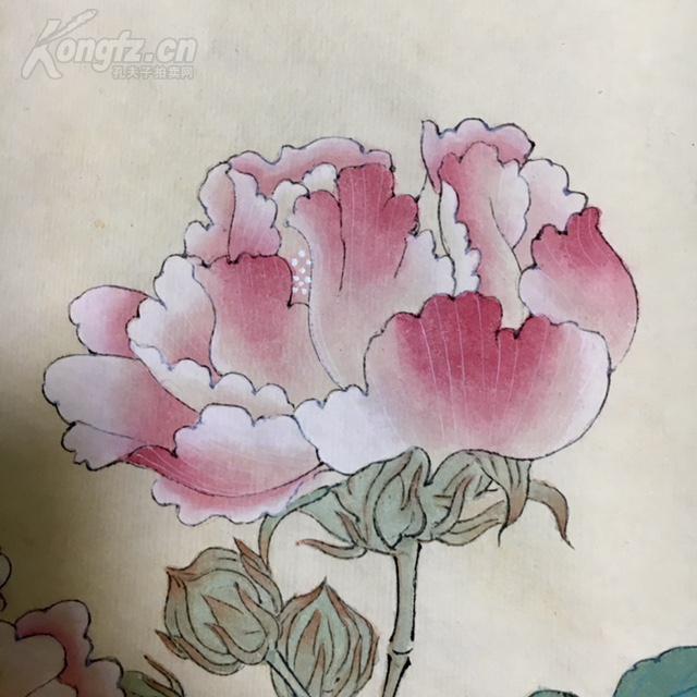 【耘天堂】 国画 工笔画 手绘 《红芙蓉》 约1平尺