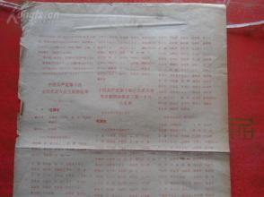 红色布告《中国共产党第九次全国代表大会主席团秘书处新闻公报》1969年,1张,8开,品好如图。