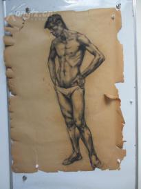 1980年作  男性人体 素描稿一幅  尺寸108*78厘米2 或为画家江平
