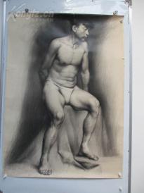 1980年作  男性人体 素描稿一幅  尺寸108*78厘米6   或为画家江平