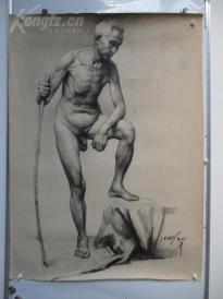 1980年作  男性人体 素描稿一幅  尺寸108*78厘米5  或为画家江平