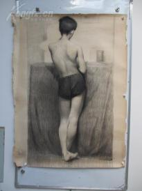 1980年作  女性人体 素描稿一幅  尺寸118*87厘米4 或为画家江平