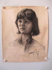 1980年作  女性 素描稿一幅  尺寸47*39厘米15 或为画家江平