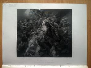 1850年钢版画《神话中的战斗》(A MYTHOLOGICAL BATTLE)---雕刻师乔治·芬登,《弗农画廊精选》,34*25厘米--精美,漂亮,高质量