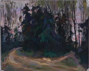 著名油画家、原湖北美术学院教授 崔哲民 1983年水粉画作品《蛇岭上的杉树》一幅 (钤印:崔哲民,尺寸:44.5*36cm)  HXTX105341