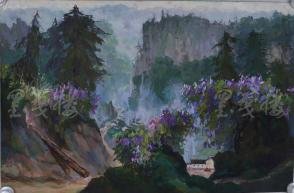 著名油画家、原湖北美术学院教授 崔哲民 1980年水粉画作品《炊烟浓》一幅 (钤印:崔哲民,尺寸:73*48cm)  HXTX105348