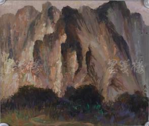 著名油画家、原湖北美术学院教授 崔哲民 1983年水粉画作品《黄石崖》一幅 (钤印:崔哲民,尺寸:44*37cm)  HXTX105353