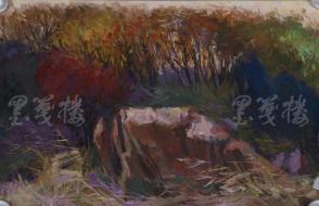 著名油画家、原湖北美术学院教授 崔哲民 1983年水粉画作品《秋风》一幅 (钤印:崔哲民,尺寸:51*32.5cm)  HXTX105342