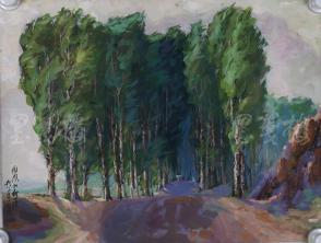 著名油画家、原湖北美术学院教授 崔哲民 1983年水粉画作品《微风和树荫》一幅 (钤印:崔哲民,尺寸:51*39cm)  HXTX105349