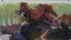 著名油画家、原湖北美术学院教授 崔哲民 1980年水粉画作品《春天的红叶》一幅 (钤印:崔哲民,尺寸:70*40.5cm)  HXTX105350