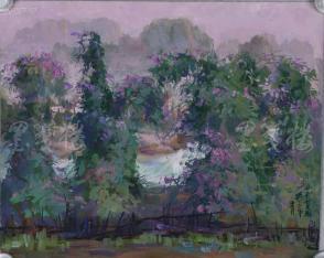著名油画家、原湖北美术学院教授 崔哲民 1983年水粉画作品《山村菜园》一幅 (钤印:崔哲民,尺寸:48*39cm)  HXTX105340