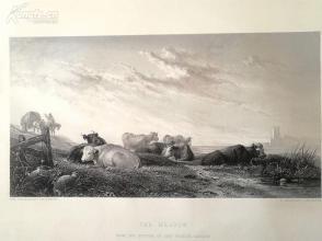 1854年钢版画《牛牧场》(THE MEADOW)--出自奥古斯塔斯·沃尔·考尔科特作品----《弗农画廊精选》,34*25厘米--精美,漂亮,高质量