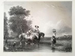 1854年钢版画《涉水过小溪》(crossing the stream)---《弗农画廊精选》---34*25厘米--精美,漂亮,高质量