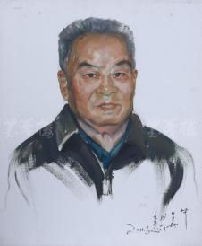 著名肖像油画家 颛孙中华 2011年写意布面油画作品《大叔》一幅(尺寸:60*50 cm) HXTX105209