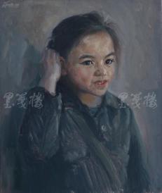 著名肖像油画家 颛孙中华 布面油画作品《小女孩》一幅(未落款,尺寸:60*50 cm)  HXTX105213