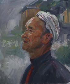 著名肖像油画家 颛孙中华 布面油画作品《羊肚手巾》一幅(未落款,尺寸:60*50 cm)  HXTX105216