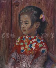 著名肖像油画家 颛孙中华 布面油画作品《如花少女》一幅(未落款,尺寸:60*50 cm)  HXTX105214
