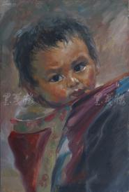 著名肖像油画家 颛孙中华 布面油画作品《母亲的背》一幅(未落款,尺寸: 60*40cm)  HXTX105217