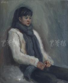 著名肖像油画家 颛孙中华 布面油画作品《妙龄少女》一幅(未落款,尺寸:60*50 cm)HXTX105212