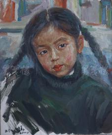 著名肖像油画家 颛孙中华 2010年布面油画作品《羊角辫小女孩》一幅(尺寸:60*50 cm) HXTX105208
