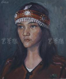著名肖像油画家 颛孙中华 布面油画作品《异域女郎》一幅(未落款,尺寸:60*50 cm)  HXTX105218