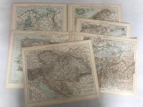 清末德文彩色印制,欧洲地图《西班牙,葡萄牙、意大利、瑞士、瑞典,挪威,丹麦、奥地利,匈牙利、欧洲俄罗斯》6张