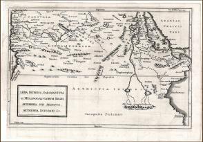 1747年铜版古地图《利比亚、加拉曼特、melanogaetulorum 地区、埃及境内的埃塞俄比亚、埃塞俄比亚等地图》,34.2×23.5cm