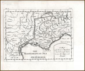 1747年铜版古地图《汉尼拔经由高卢翻越阿尔卑斯山进入意大利行军路线图》,33.5×28cm