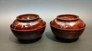 N 0113 号    金莳绘木胎漆器盖碗一对      新品!