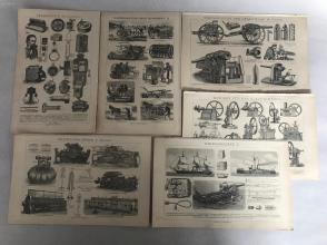 """清末德文原版印制""""轻/重型枪械、电话机/电报机、农业机械设备、小型电机、军舰、纺织机""""等图片画片6张双面。"""