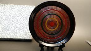 N 0146  号   天然整木制 圆形漆盘    未使用新品!