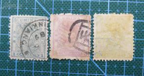 大清邮政局小龙邮票壹分叁分伍分3张全套(太极水印)