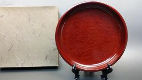 N 0205   天然整木 制作漆盘    未使用新品!