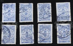 1904年 伦敦一版工欠资邮票8枚全套(旧上中品,尺寸:2.5*1.6cm*8) HXTX107228