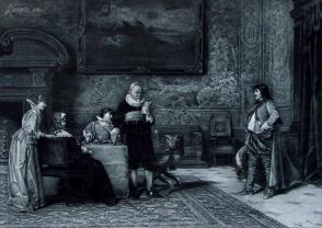 """1886年意大利艺术系列凹版蚀版画《推荐信》—意大利画家""""ARTURE RICCI""""作品 42x29cm"""