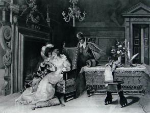 """1886年意大利艺术系列凹版蚀版画《闺蜜》—意大利画家""""PIO RICCI """"作品 42x29cm"""