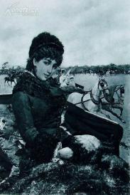"""1886年意大利艺术系列凹版蚀版画《娜娜》—意大利画家""""M.Lovatti""""作品 42x29cm"""