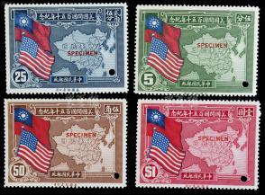 """1939年 美国开国150周年纪念邮票(加盖:""""SPECIMEN""""样票4枚全套) HXTX106766"""