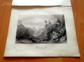 1841年钢版画《托斯特山口,比利牛斯山》(The Col de Tortes)—奥罗姆画笔下的十九世纪法国--27*20.5厘米---精美,漂亮,高质量(3)(z)