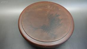 N 0272   木胎手绘松兰图案圆形大漆盒(茶具收纳盒 )  盒盖反过来就是一件茶盘!