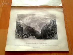 1841年钢版画《比利时瓦隆和法国查尔特勒之间的茫茫阿尔卑斯山》(Pass Between Voiron and the Grande Chartreuse)—奥罗姆画笔下的十九世纪法国--27*20.5厘米---(z)