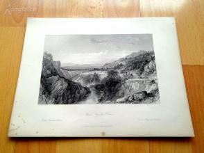 1841年钢版画《环绕梯也尔城的多姆山》(Thiers, Puy de Dome)—奥罗姆笔下的法国历史--27*20.5厘米---精美,漂亮,高质量(z)