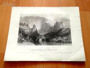 1841年钢版画《沃克吕兹的喷泉(泉水镇)和彼特拉克城堡》(Fountain of Vaucluse and Petrarchs Castle)—奥罗姆笔下的法国历史--27*20.5厘米---精美,漂亮,高质量(z)